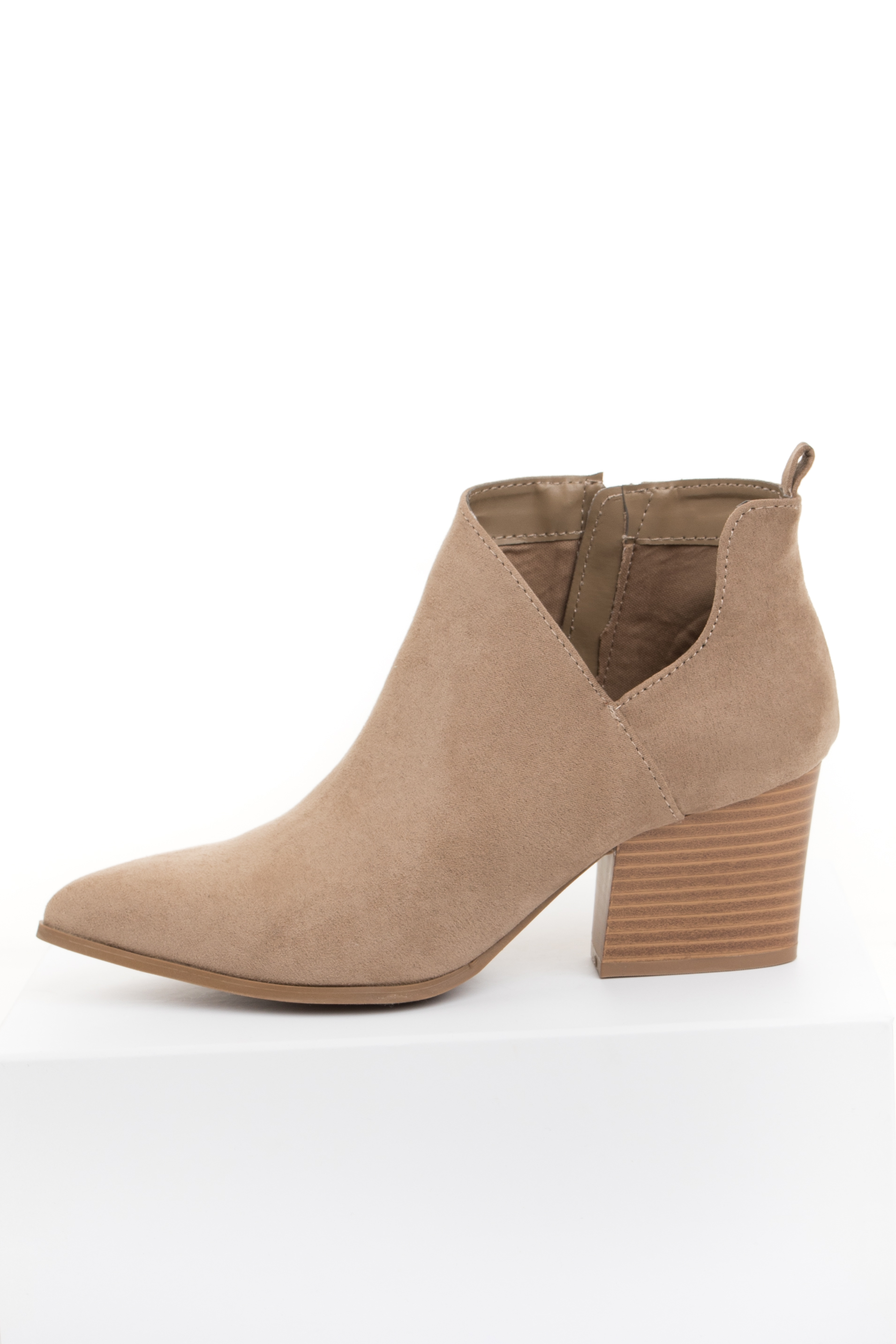 Taupe Faux Suede Pointed Toe Bootie with Cutout Detail