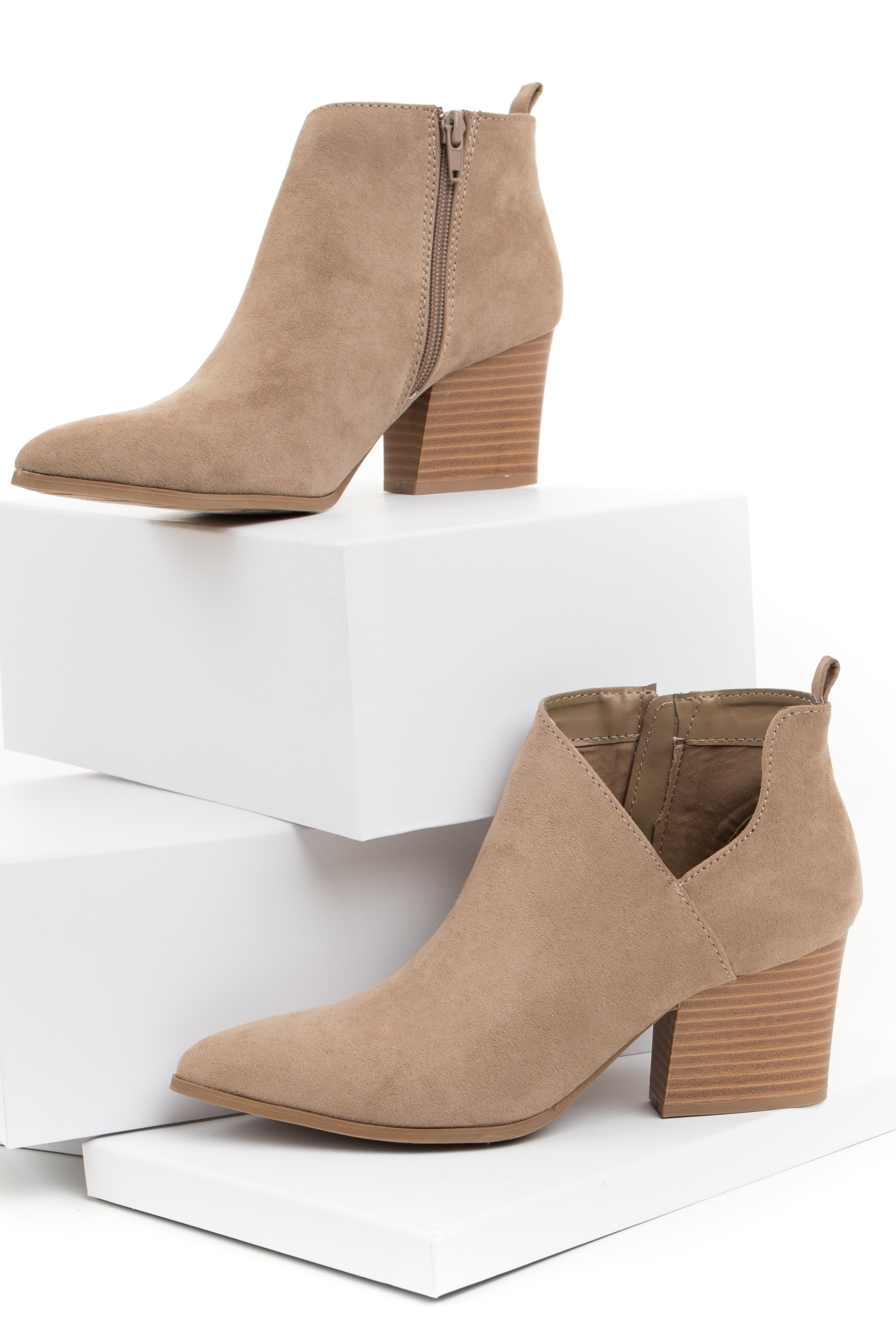 Taupe Faux Suede Pointed Toe Bootie