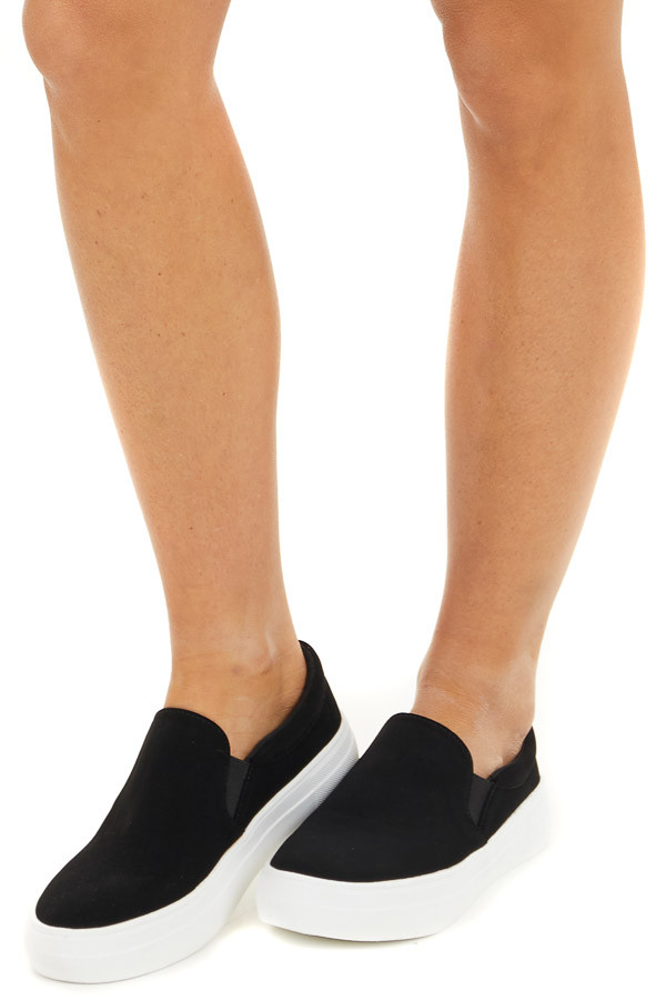 Black Matte Faux Suede Easy Slip On Sneakers side view