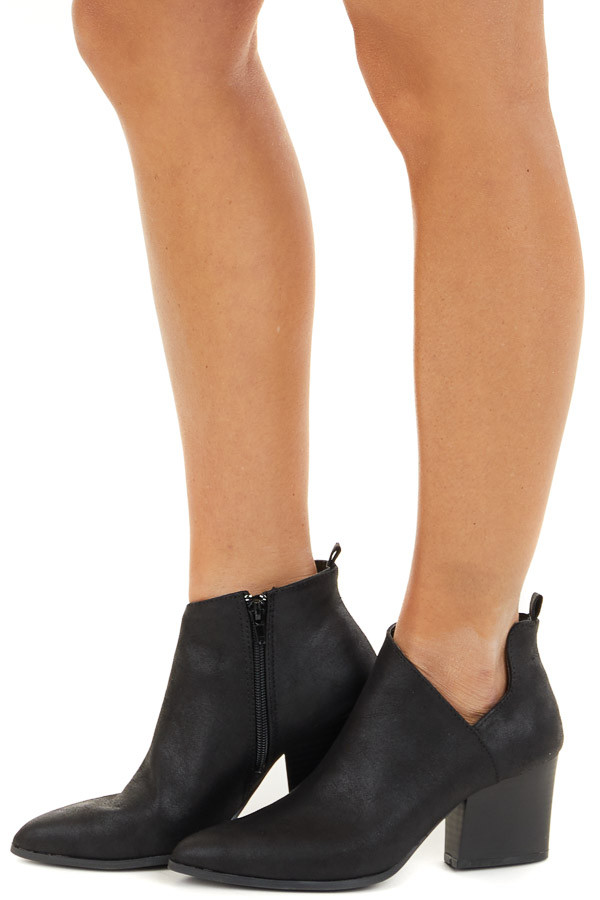 Black Faux Leather Pointed Toe Bootie with Cutout Detail side view