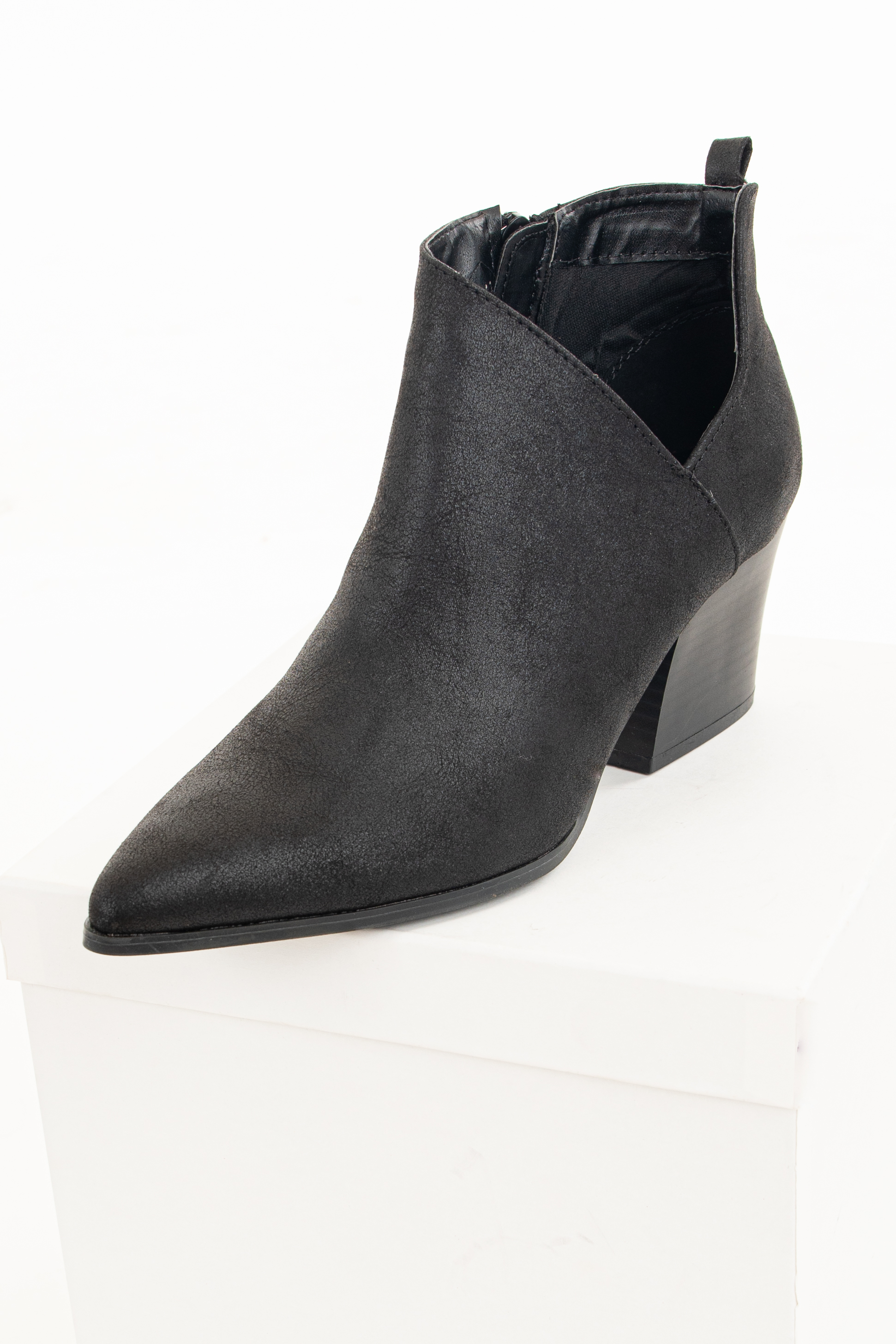 Black Faux Leather Pointed Toe Bootie with Cutout Detail