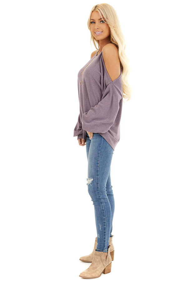 Dusty Lavender Cold Shoulder Long Sleeve Knit Top side full body