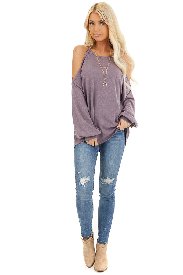 Dusty Lavender Cold Shoulder Long Sleeve Knit Top front full body