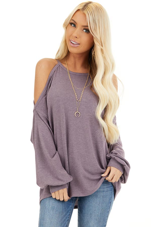 Dusty Lavender Cold Shoulder Long Sleeve Knit Top front close up
