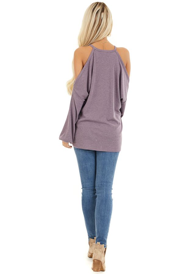 Dusty Lavender Cold Shoulder Long Sleeve Knit Top back full body