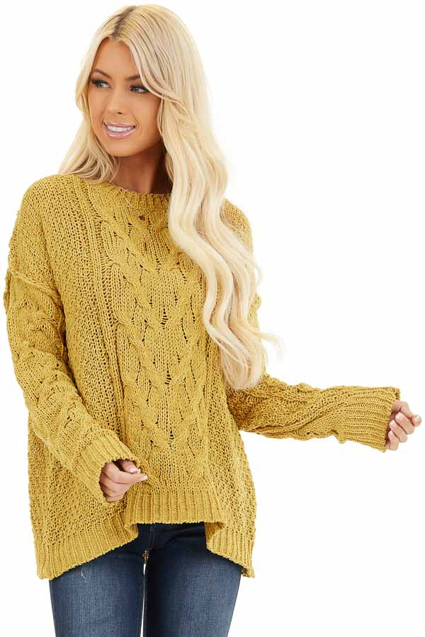 Mustard Chunky Cable Knit Chenille Long Sleeve Sweater front close up