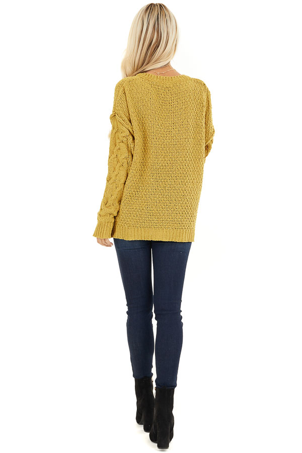 Mustard Chunky Cable Knit Chenille Long Sleeve Sweater back full body