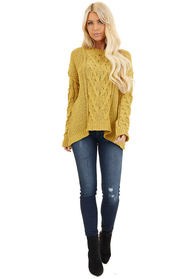 Mustard Chunky Cable Knit Chenille Long Sleeve Sweater front full body