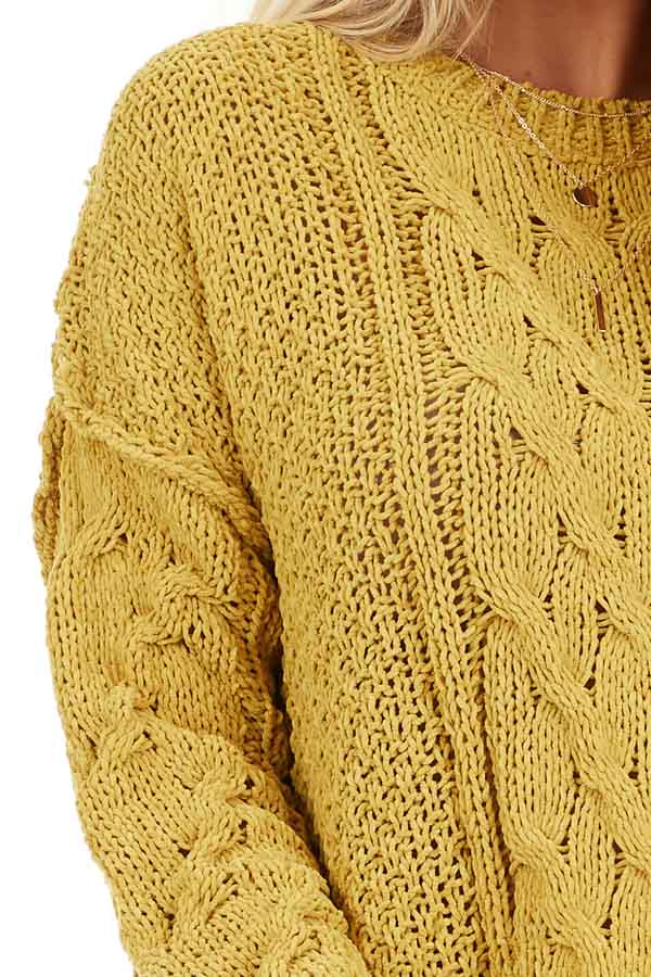 Mustard Chunky Cable Knit Chenille Long Sleeve Sweater detail