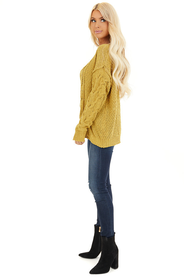 Mustard Chunky Cable Knit Chenille Long Sleeve Sweater side full body