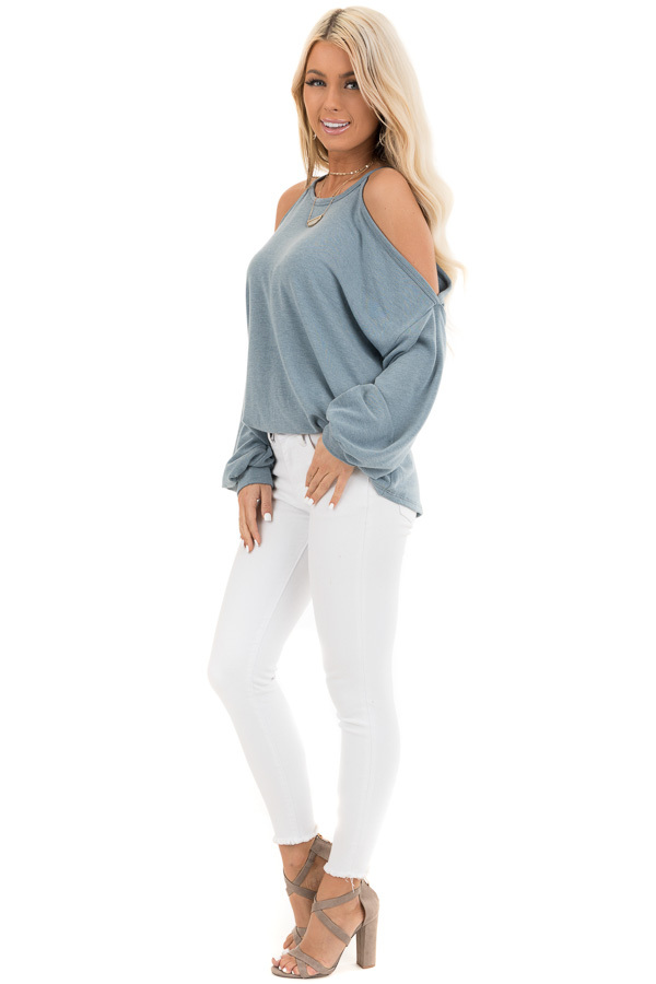 Dusty Teal Cold Shoulder Long Sleeve Knit Top side full body