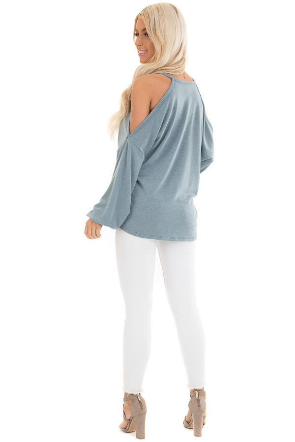 Dusty Teal Cold Shoulder Long Sleeve Knit Top back full body