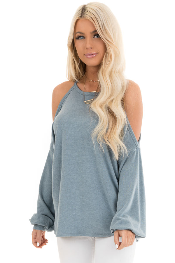 Dusty Teal Cold Shoulder Long Sleeve Knit Top front close up
