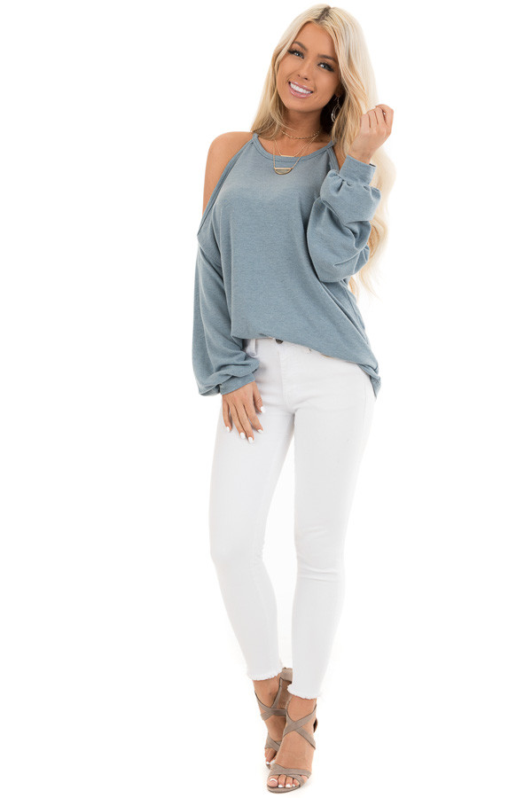 Dusty Teal Cold Shoulder Long Sleeve Knit Top front full body