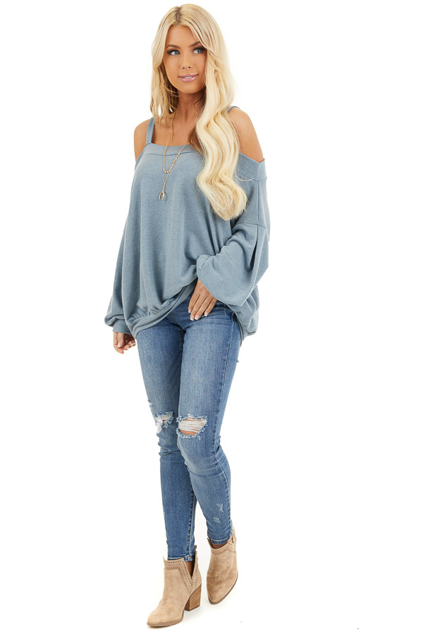 Dusty Blue Cold Shoulder Knit Top with Long Bubble Sleeves front full body
