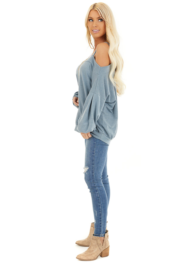 Dusty Blue Cold Shoulder Knit Top with Long Bubble Sleeves side full body