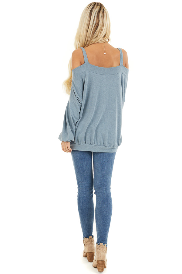 Dusty Blue Cold Shoulder Knit Top with Long Bubble Sleeves back full body