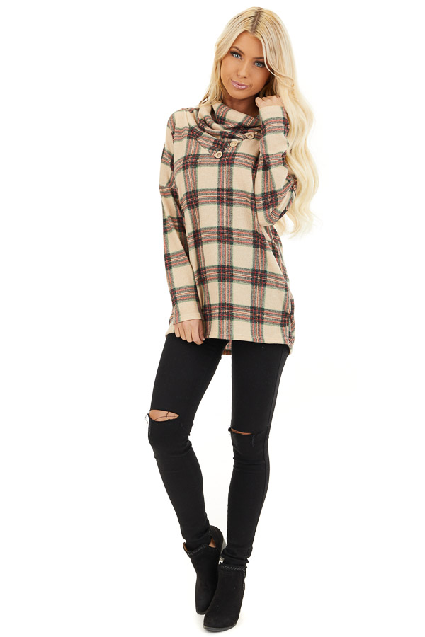 Oatmeal Plaid Cowl Neck Top with Wooden Button Details front full body