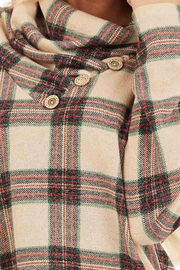 Oatmeal Plaid Cowl Neck Top with Wooden Button Details detail