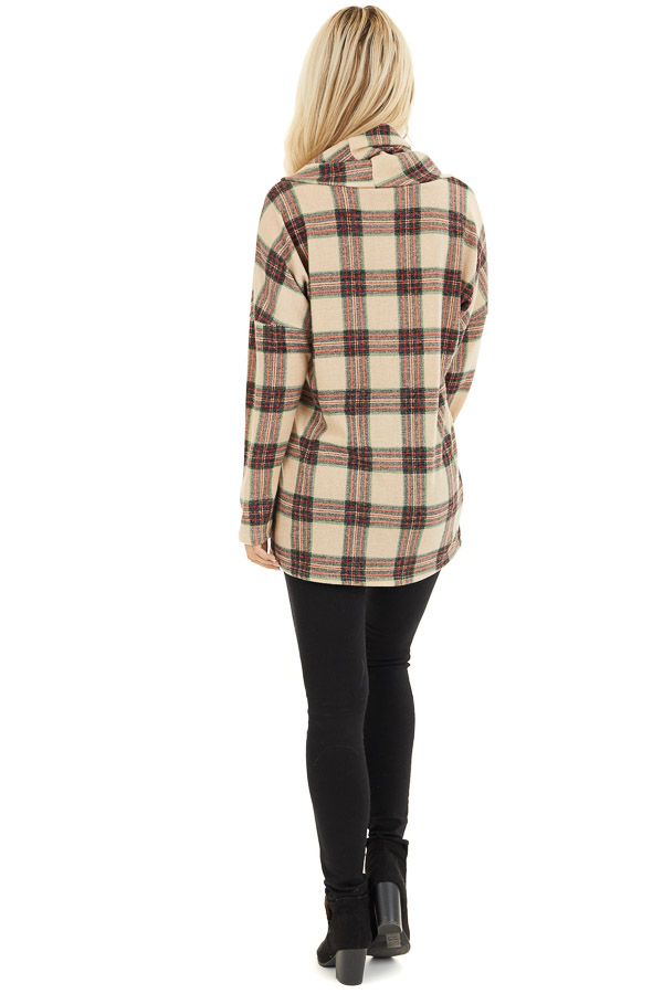 Oatmeal Plaid Cowl Neck Top with Wooden Button Details back full body