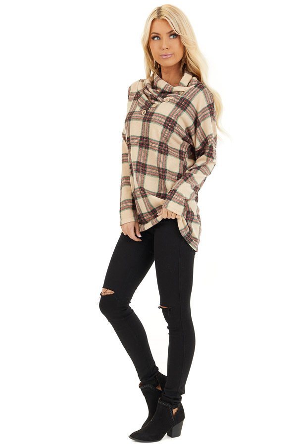 Oatmeal Plaid Cowl Neck Top with Wooden Button Details side full body