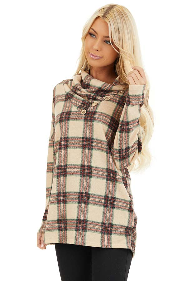 Oatmeal Plaid Cowl Neck Top with Wooden Button Details front close up