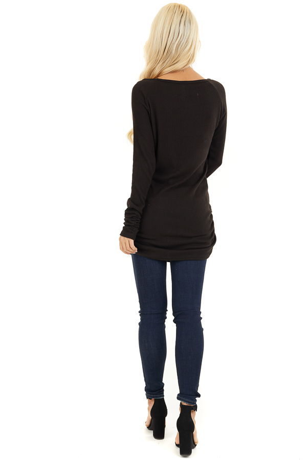 Black Ribbed Knit Tunic Top with Side Ruching Details back full body