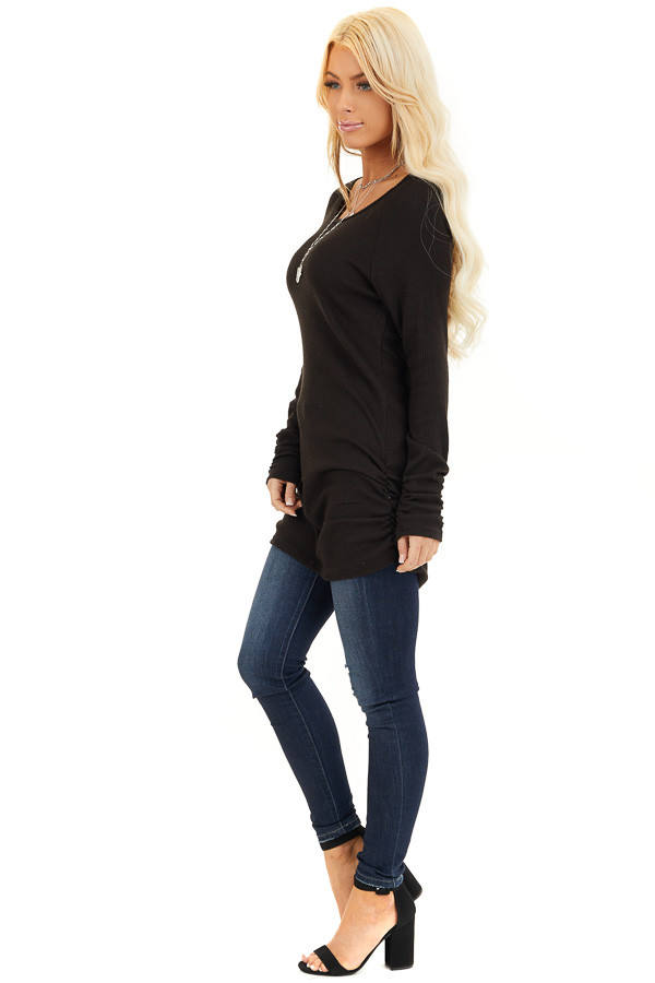 Black Ribbed Knit Tunic Top with Side Ruching Details side full body