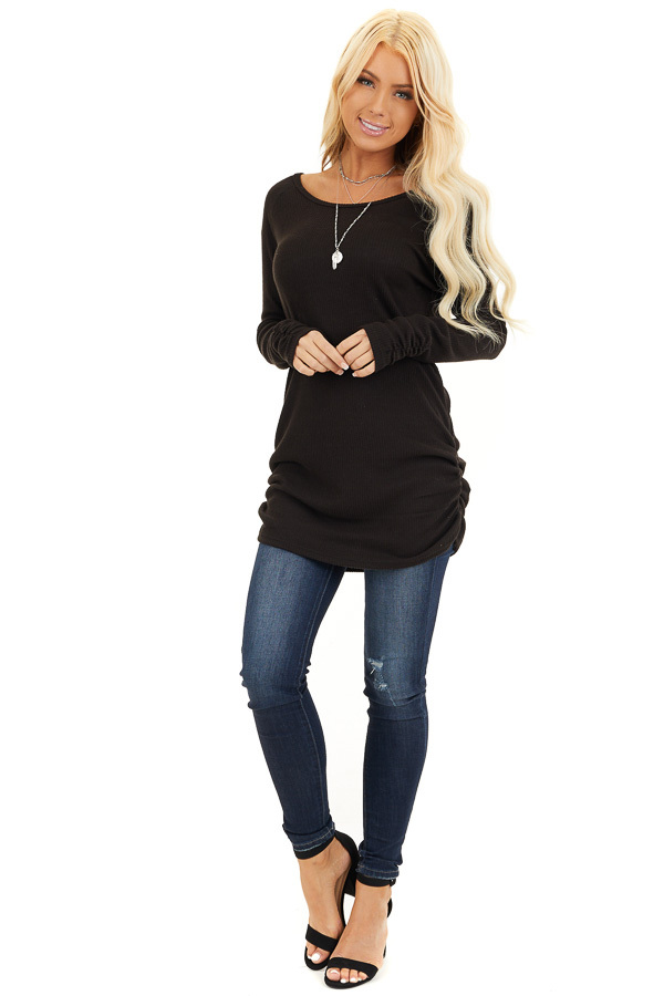 Black Ribbed Knit Tunic Top with Side Ruching Details front full body