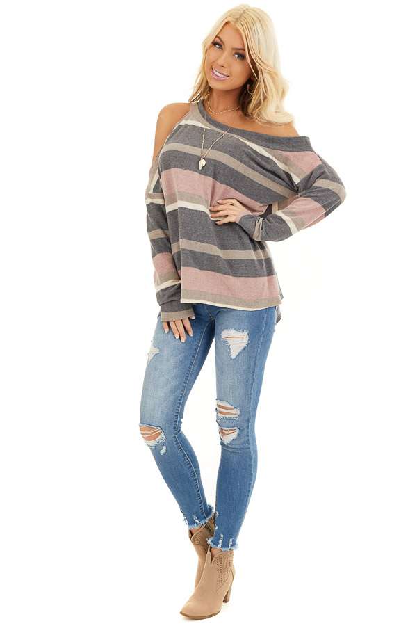 Slate and Blush One Shoulder Top with Asymmetrical Neckline front full body