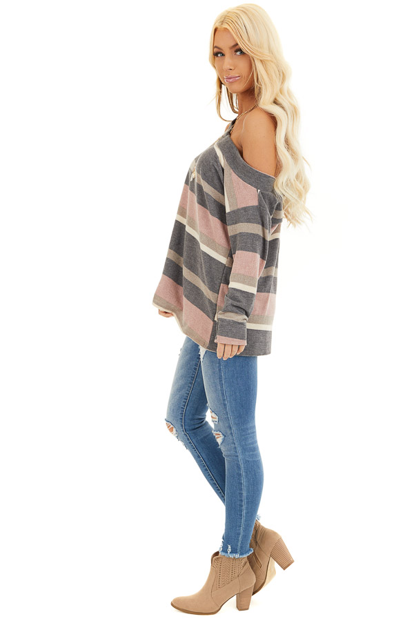 Slate and Blush One Shoulder Top with Asymmetrical Neckline side full body