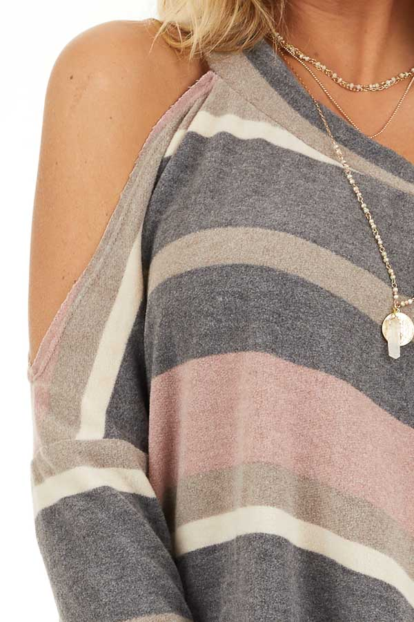 Slate and Blush One Shoulder Top with Asymmetrical Neckline detail