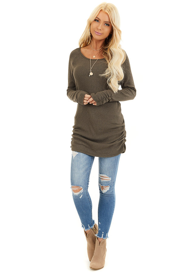 Olive Ribbed Knit Tunic Top with Side Ruching Details front full body