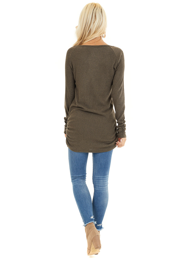 Olive Ribbed Knit Tunic Top with Side Ruching Details back full body