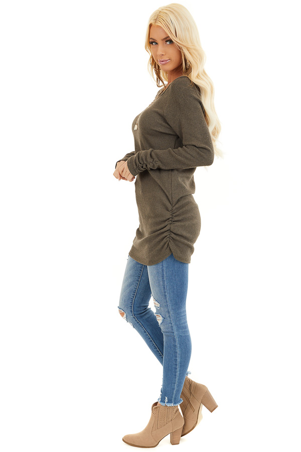 Olive Ribbed Knit Tunic Top with Side Ruching Details side full body