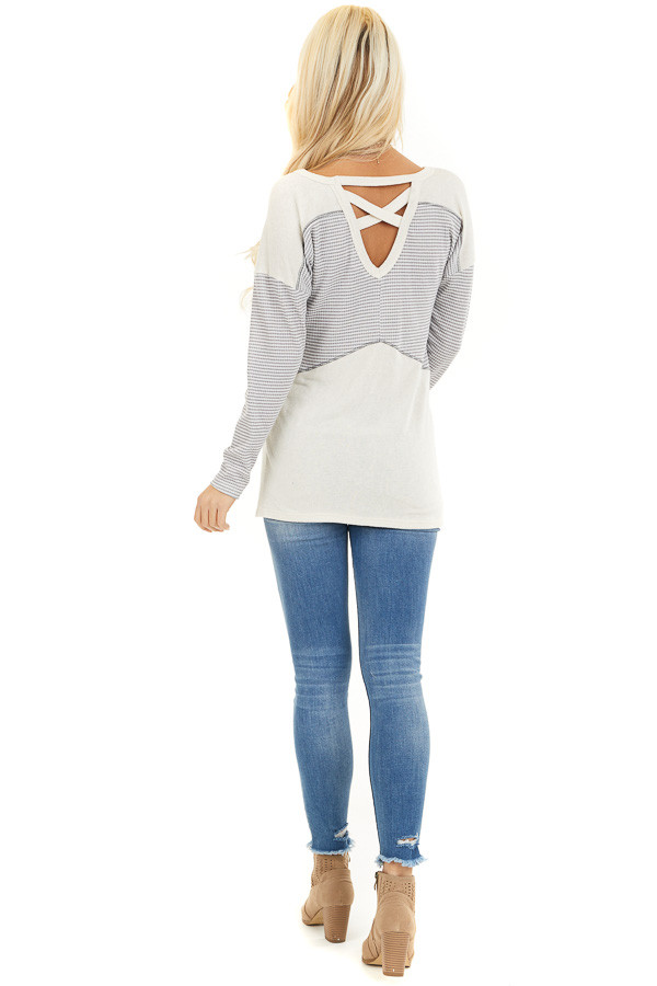 Dove Grey and Cream Knit Top with Strappy Back Detail back full body
