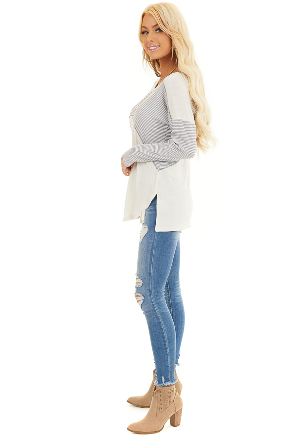 Dove Grey and Cream Knit Top with Strappy Back Detail side full body