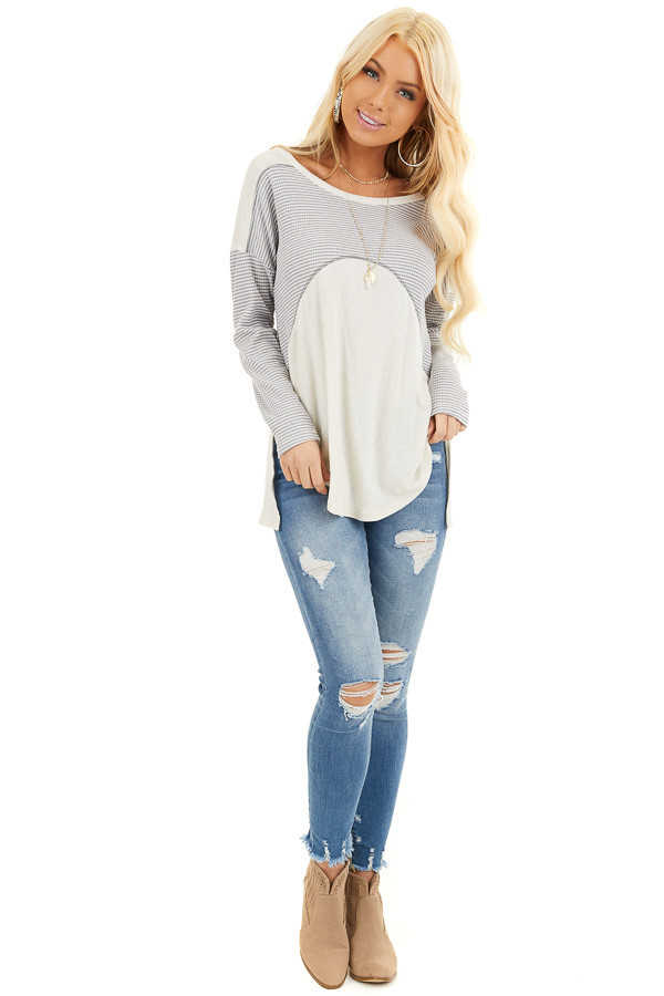 Dove Grey and Cream Knit Top with Strappy Back Detail front full body