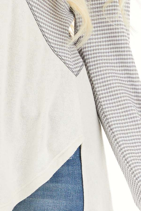 Dove Grey and Cream Knit Top with Strappy Back Detail detail