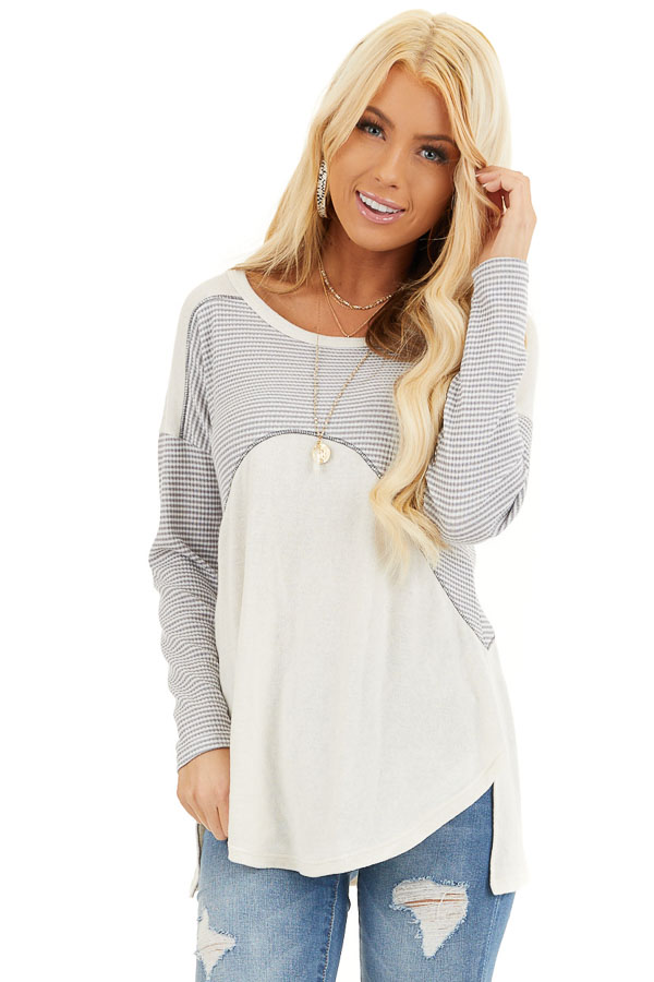 Dove Grey and Cream Knit Top with Strappy Back Detail front close up
