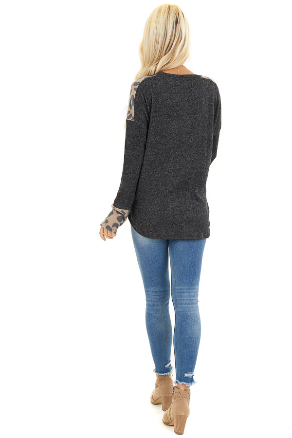 Charcoal Knit Top with Leopard Print and Button Details back full body