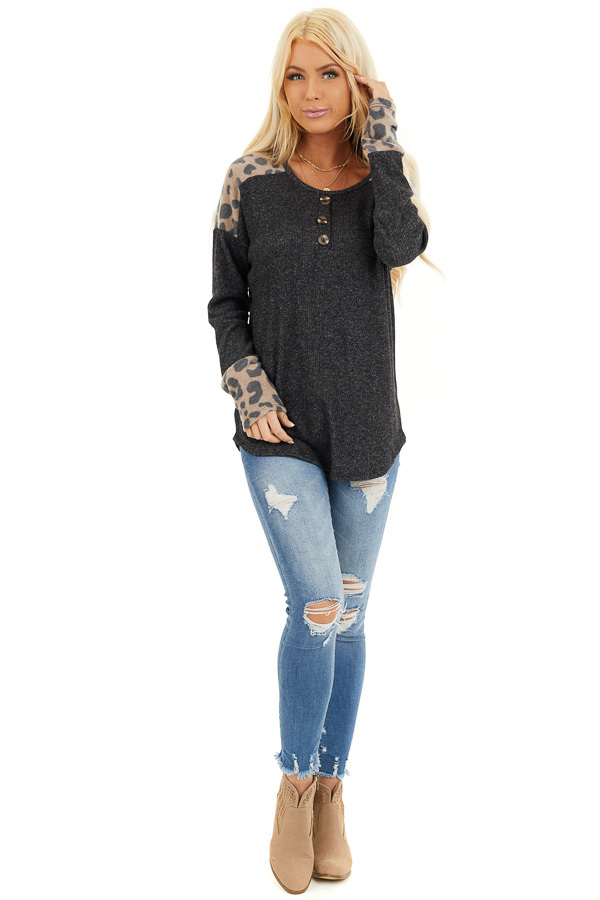Charcoal Knit Top with Leopard Print and Button Details front full body