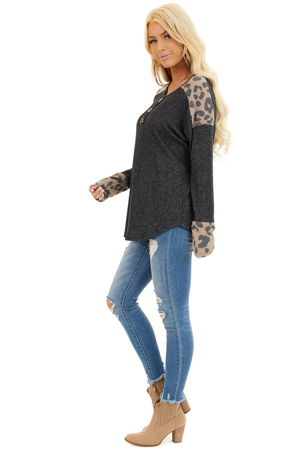 Charcoal Knit Top with Leopard Print and Button Details side full body