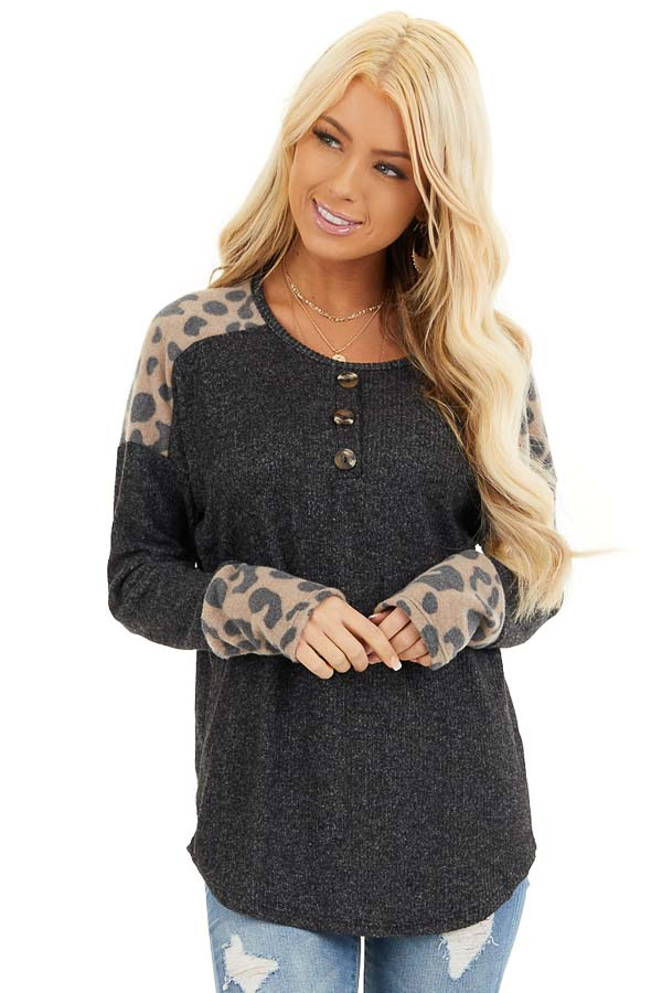 Charcoal Knit Top with Leopard Print and Button Details front close up