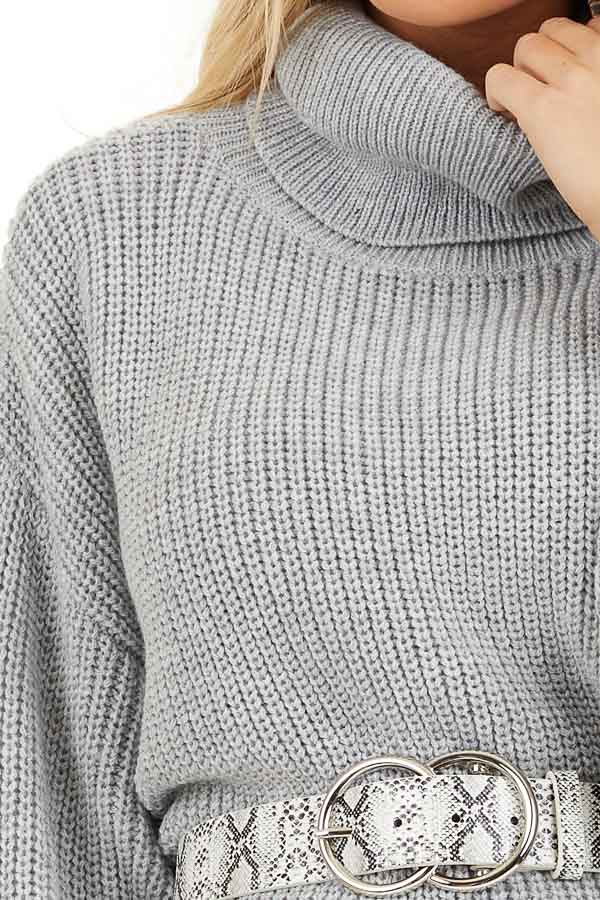 Heather Grey Turtleneck Sweater Dress with Cuffed Sleeves detail