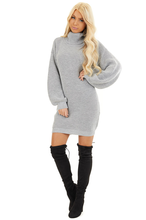 Heather Grey Turtleneck Sweater Dress with Cuffed Sleeves front full body