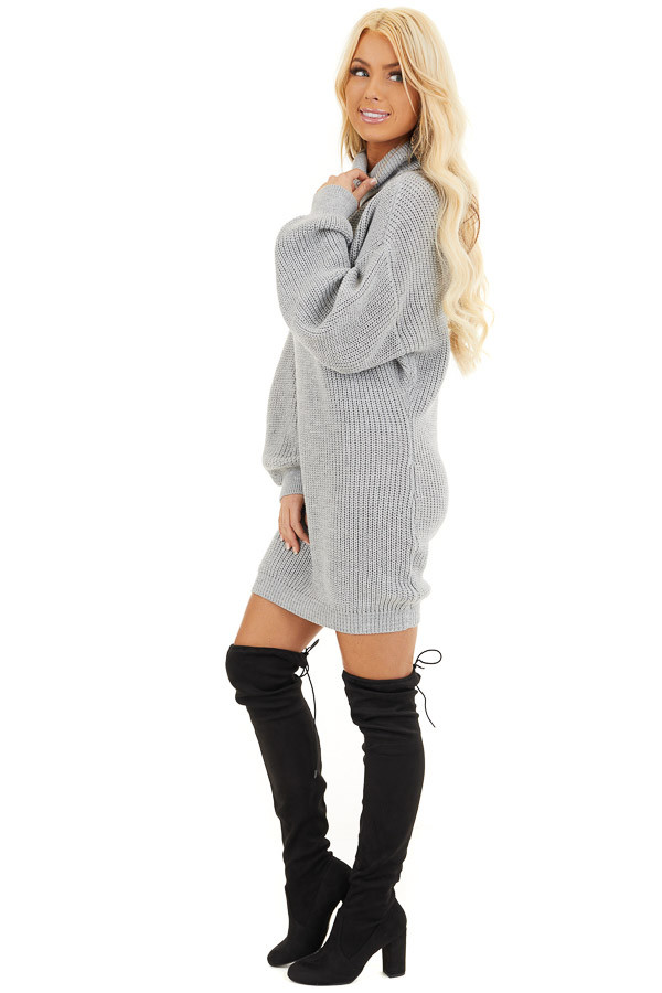 Heather Grey Turtleneck Sweater Dress with Cuffed Sleeves side full body
