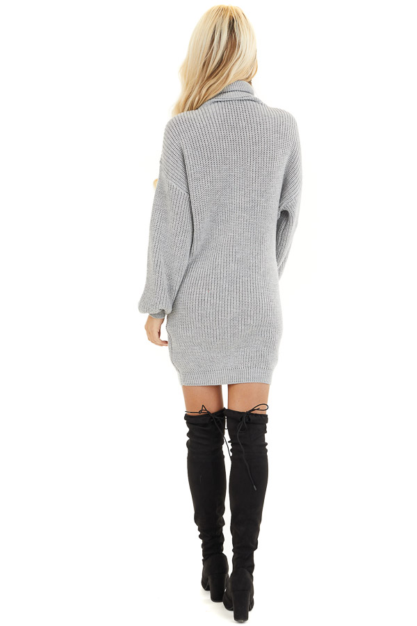 Heather Grey Turtleneck Sweater Dress with Cuffed Sleeves back full body