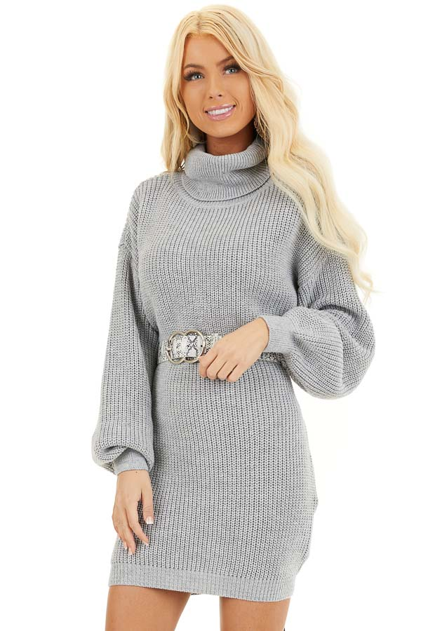 Heather Grey Turtleneck Sweater Dress with Cuffed Sleeves front close up