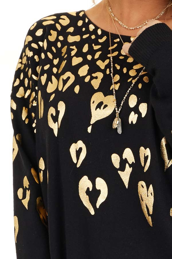 Black Long Sleeve Knit Top with Gold Leopard Print Hearts detail
